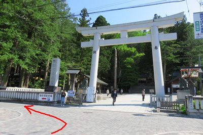 諏訪神社 駐車場への道順